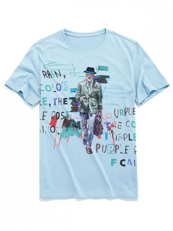 outfits Men Paint Letter Graphic Basic T-shirt - BLUE GRAY L
