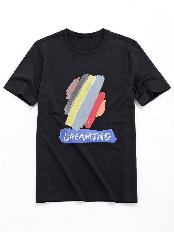 Camiseta Básica con Estampado de Pintura de Dreamy - Negro S