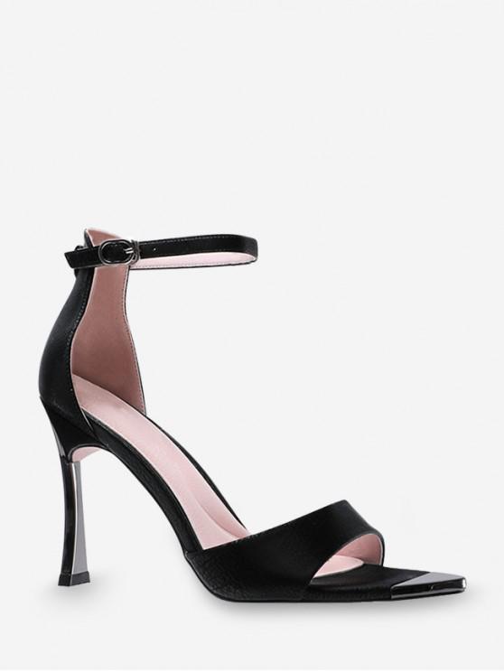 outfit Contrast Trim High Heel Ankle Strap Sandals - BLACK EU 37