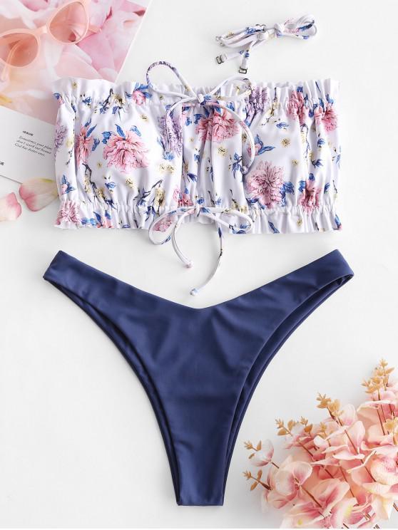 ZAFUL Flower Tie Ruched High Cut Bikini Swimwear - المراوغ الأزرق S