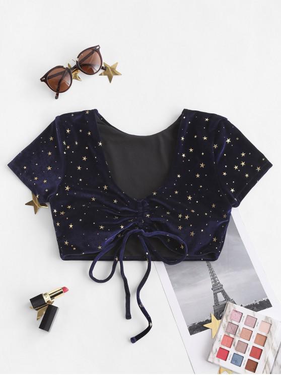 best ZAFUL Velvet Starry Cinched Tie Cropped Bikini Top - MIDNIGHT BLUE XL
