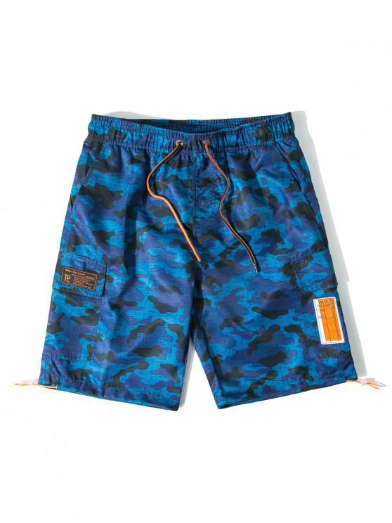 Shorts de Playa de Bañador Camuflado con Bolsillo de Solapa - Azul Océano  L