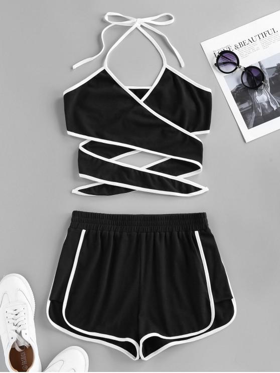 women's ZAFUL Halter Ringer Sports Shorts Set - BLACK S