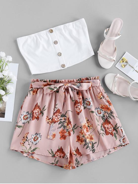 buy ZAFUL Flower Print Bandeau Belted Paperbag Two Piece Set - LIGHT PINK XL