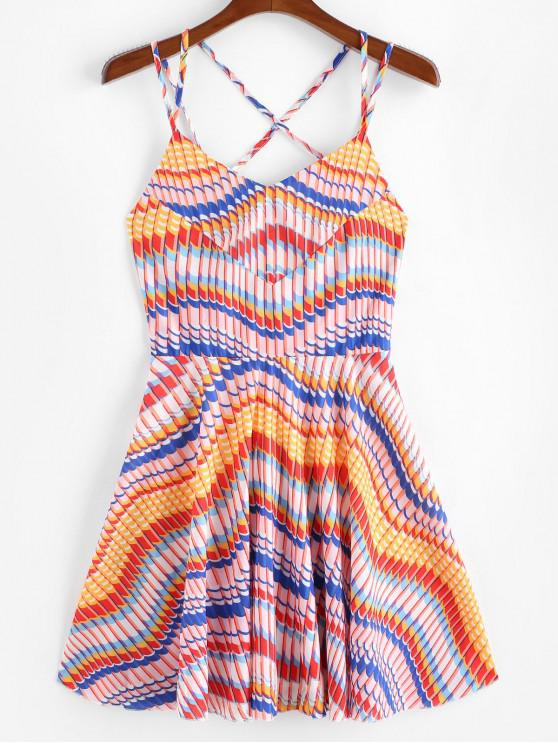 latest Strappy Criss Cross Colorful Printed Mini Dress - MULTI-A S