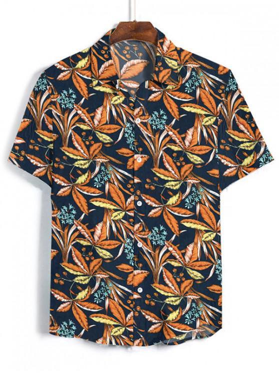 Camisa de Vacaciones de Dama de Flores con Hoja Tropical - Azul de Medianoche XL