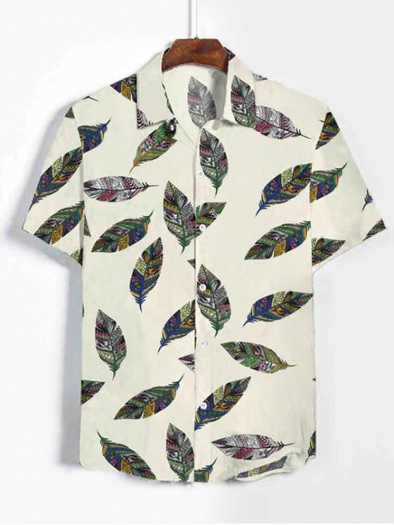 affordable Tribal Leaf Print Vacation Shirt - WHITE 3XL