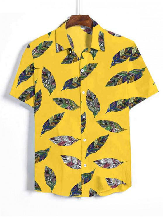 outfits Tribal Leaf Print Vacation Shirt - RUBBER DUCKY YELLOW 3XL