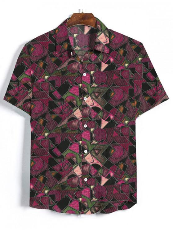 Camisa Estampado Geométrico Manga Larga Botón - Lápiz Labial Rosa M