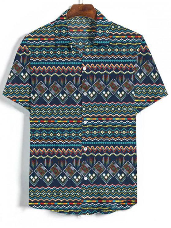 unique Geometric Graphic Vacation Shirt - MULTI-B 2XL