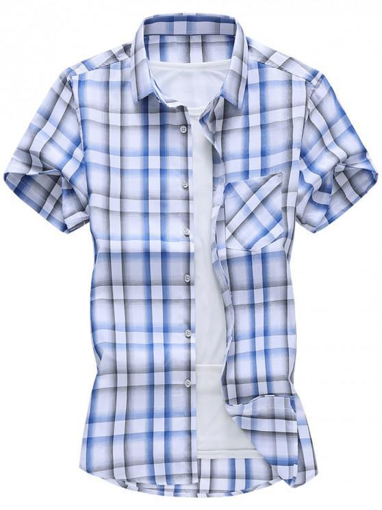 best Plaid Pocket Patch Button Down Shirt - OCEAN BLUE 2XL