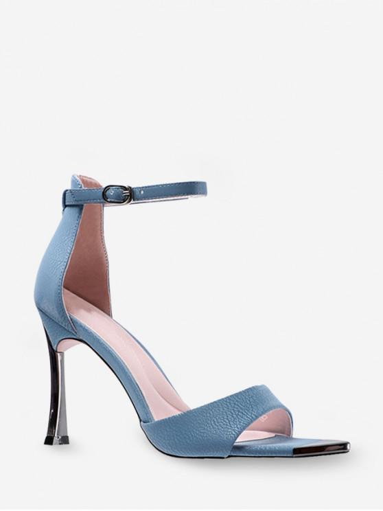 shops Contrast Trim High Heel Ankle Strap Sandals - DODGER BLUE EU 37