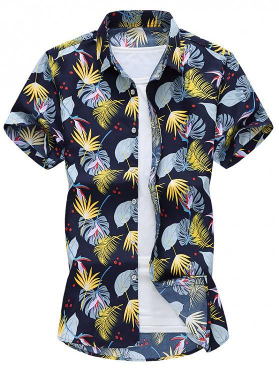 Camisa de Vacaciones de Impresión de Planta - Azul Oscuro de Denim XS