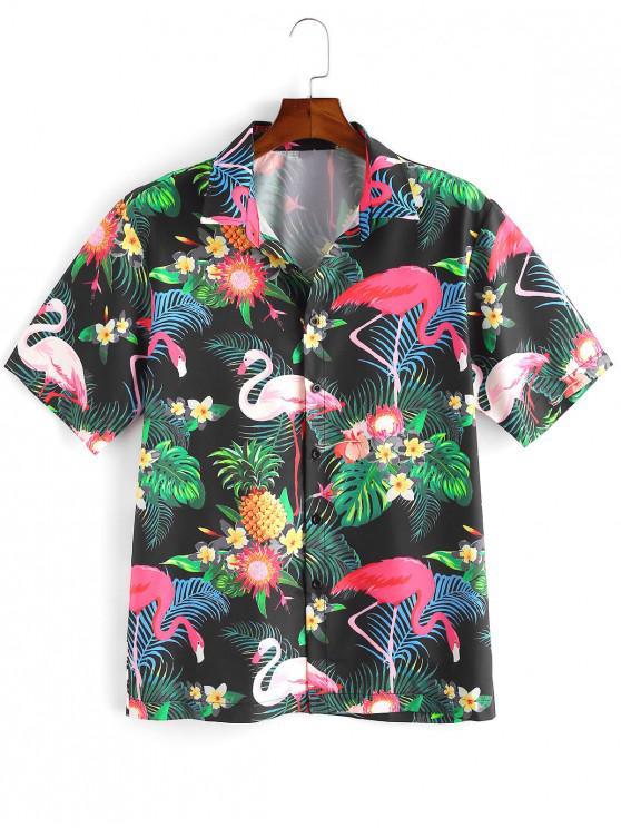 Camisa de Vacación Tropical con Estampado de Plantas de Hawai - Multicolor-A 2XL
