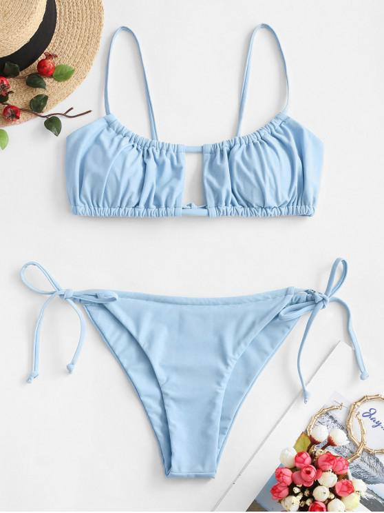 shop ZAFUL Ruched Tie Side Bikini Swimsuit - LIGHT SKY BLUE S