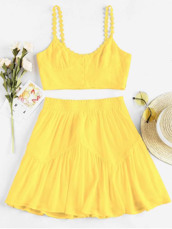 shop ZAFUL Flower Applique Button Up Mini Skirt Set - SUN YELLOW M