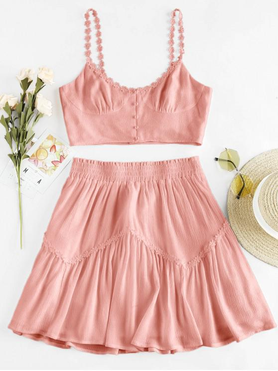 women's ZAFUL Flower Applique Button Up Mini Skirt Set - ROSE S