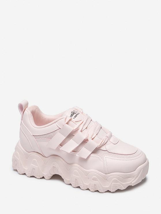 buy Zigzag Insole Breathable Platform Running Sneakers - PINK EU 38