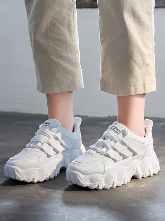 unique Zigzag Insole Breathable Platform Running Sneakers - WHITE EU 38