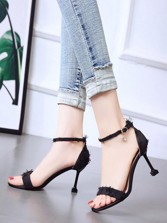 fancy Frayed Vamp High Heel Ankle Strap Sandals - BLACK EU 39