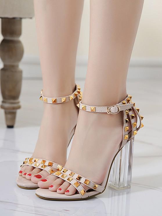 women's Rivet High-heel Open Toe Sandals - APRICOT EU 37