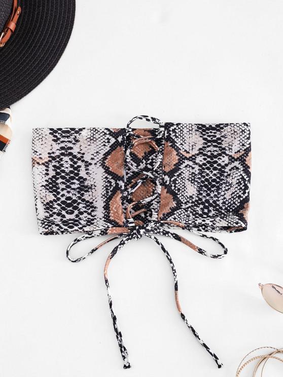 hot ZAFUL Animal Print Lace-up Bandeau Bikini Top - TIGER ORANGE M