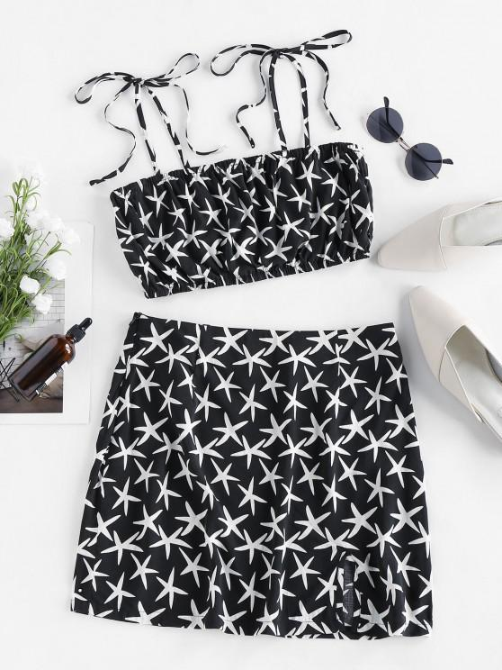 trendy ZAFUL Starfish Tie Ruched Cami Two Piece Set - BLACK S
