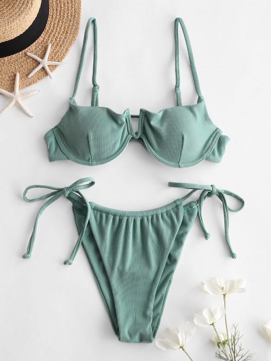 shop ZAFUL Ribbed V Cut Tie Underwire Bikini Swimwear - SEA TURTLE GREEN M