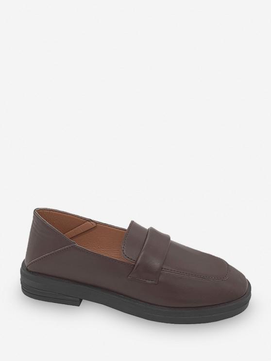 Square Toe Leather Slip On Flat Shoes - براون العميق الاتحاد الأوروبي 39