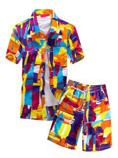 Colorful Geometric Graphic Pocket Shirt And Shorts - Multi-a L