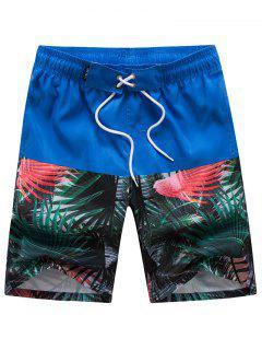 Pantaloncini Da Spiaggia Con Pannello A Pianta Tropicale Elastici Per Fianchi - Blu 3xl