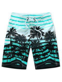 Pantaloncini Da Spiaggia Con Stampa Ad Albero Di Palma A Righe - Blu Tron  4xl