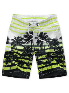 Pantaloncini Da Spiaggia Con Stampa Ad Albero Di Palma A Righe - Verde Menta  2xl