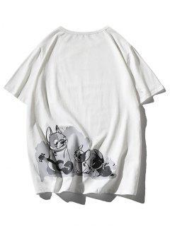 T-shirt Applique Chien Dessin Animé Imprimé - Blanc 3xl