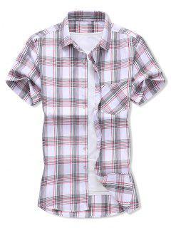 Plaid Pocket Patch Button Shirt - Lava Red Xs