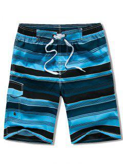 フラップポケット付きストライプ水泳ビーチショーツ - ブルー Xl