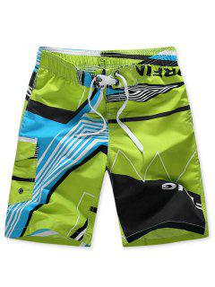 Striped Geo Graphic Beach Shorts - Green 4xl