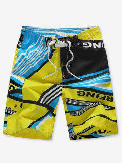 Striped Geo Graphic Beach Shorts - Yellow 4xl