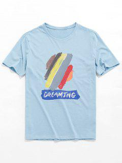 Dreaming Paint Graphic Basic T-shirt - Blue Gray S