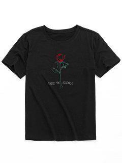 ZAFUL Short Sleeve Rose Pattern Embroidery T-shirt - Black Xl