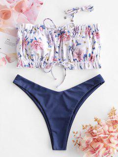 ZAFUL Gebundener Blumen Geraffte Bikini Badebekleidung Mit Hohem Ausschnitt - Knallblau S