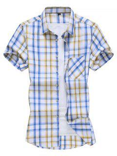 Plaid Pocket Patch Button Down Shirt - Sun Yellow 2xl