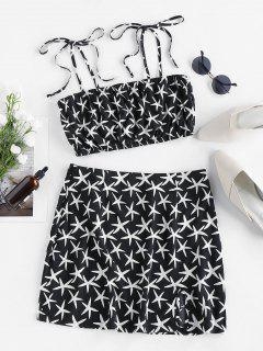 ZAFUL Starfish Tie Ruched Cami Two Piece Set - Black M