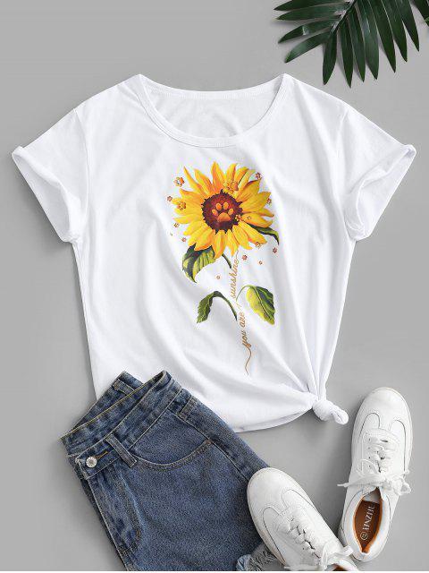 T-shirt de Base Noué 3D Tournesol Imprimé en Coton - Blanc S Mobile
