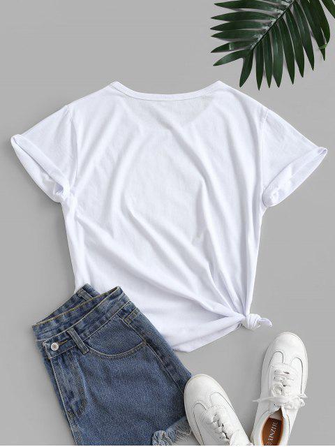 T-shirt de Base Léopard Animal Lèvre Graphique Noué - Blanc S Mobile