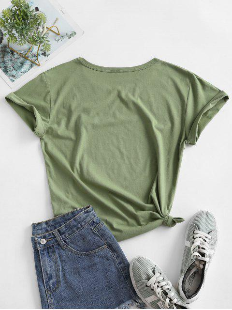 new Animal Leopard Lip Graphic Knotted Basic Tee - GREEN ONION L Mobile