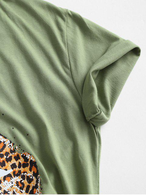 outfits Animal Leopard Lip Graphic Knotted Basic Tee - GREEN ONION S Mobile