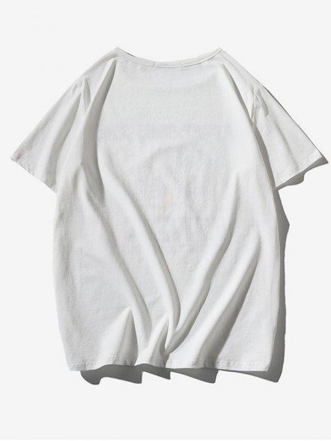 T-shirt a Maniche Corte con Stampa di Uccelli - Bianca M Mobile