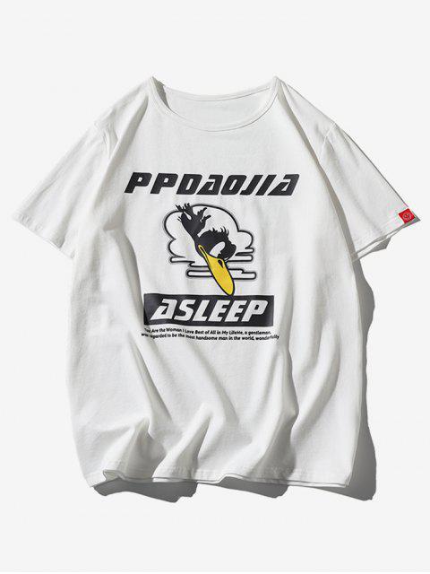 T-shirt a Maniche Corte con Stampa di Uccelli - Bianca XL Mobile