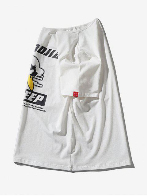 T-shirt a Maniche Corte con Stampa di Uccelli - Bianca 2XL Mobile